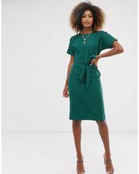 Warehouse - Зеленое Платье Из Жатой Ткани С Ремнем - Lyst