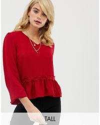 Y.A.S Lumine Frill Hem Blouse - Red