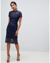 Chi Chi London - High Neck Lace Pencil Dress In Navy - Lyst