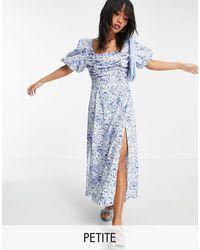 Missguided Vestido semilargo con mangas abullonadas y estampado azul