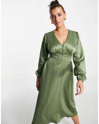 Flounce London Satin Buttoned Midi Dress - Green