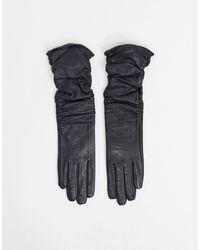 ASOS Lange Leren Gerimpelde Handschoenen Met Touch-screen - Zwart