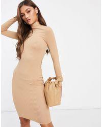 Flounce London Бежевое Базовое Платье В Рубчик С Отворачивающимся Воротником -коричневый - Естественный