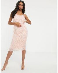 Missguided Розовое Платье Миди На Бретельках, Со Свободным Вырезом И Отделкой В Виде Перьев -розовый