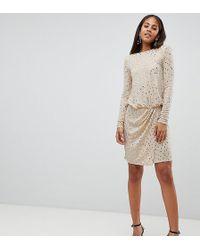 Flounce London - Sequin Mini Dress With Shoulder Pads - Lyst