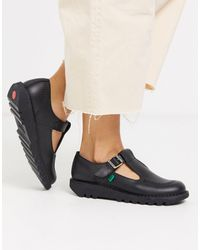 Kickers Kick T Flat Leather T-bar Shoes - Black