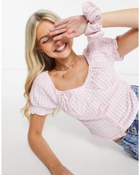 Pimkie Milkmaid Blouse With Checks - Pink