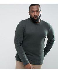ASOS - Plus Lightweight Muscle Sweatshirt In Green - Lyst