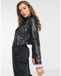 Bershka Faux Leather Biker Jacket - Black