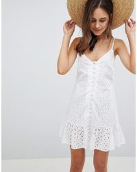 ASOS - Cami Button Through Broderie Mini Sundress With Ruffle Hem - Lyst