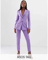 ASOS Asos Design Tall - Smalle Pantalon - Paars