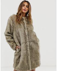 Liquorish Faux Fur Longline Coat - Grey