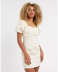 TOPSHOP Mini Dress With Puff Sleeves - Multicolor