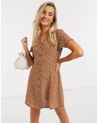 Daisy Street Чайное Платье Мини С Винтажным Цветочным Принтом -коричневый