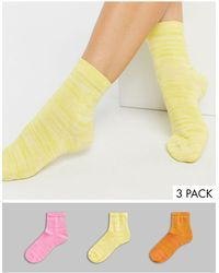 ASOS 3 Pack Of Marl Ankle Socks - Yellow