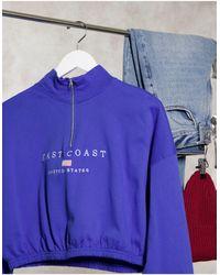 New Look Polo Sweat Slogan Top - Blue