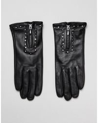Barneys Originals - Real Leather Gloves With Zip And Studs - Lyst