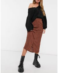 Daisy Street Midi Skirt - Brown