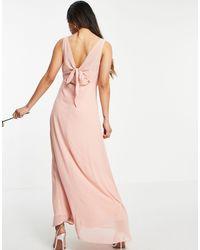 Vila Розовое Платье Миди С Запахом Спереди И Завязкой Bridesmaid-розовый Цвет