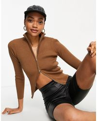Fashion Union Ribbed Zip Front Cardigan With High Collar - Brown