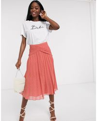 ASOS Dobby Pleated Midi Skirt With Lace Inserts - Pink
