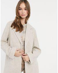 Bershka Светло-бежевое Пальто -кремовый - Естественный