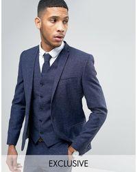 Noak Skinny Wedding Suit Jacket In Linen Nepp - Blue