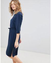 Ichi - Shift Dress With Waist Tie - Lyst