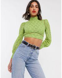 Fashion Union Кружевной Топ С Открытой Спиной -мульти - Зеленый
