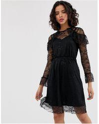 Warehouse All Over Lace Skater Midi Dress - Black