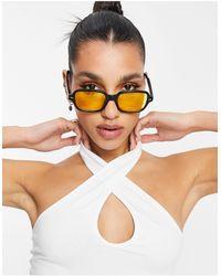 ASOS Vierkante Zonnebril Met Gele Glazen - Zwart