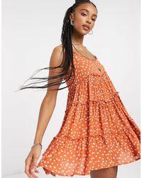Bershka Babydoll Ditsy Floral Dress - Red