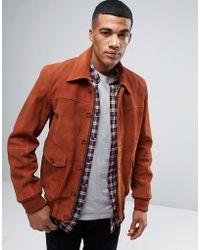 Barneys Originals Barneys Premium Suede 70's Style Lined Harrington Jacket - Brown