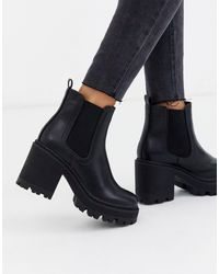 Public Desire Fuzzy Chunky Heeled Ankle Boot - Black