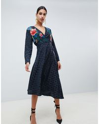 ASOS Jacquard Wrap Midi Dress With Long Sleeves And Embroidery - Black