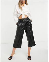 River Island Pantalon large en imitation cuir - Noir