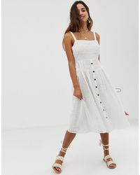 ASOS Broderie Midi Sundress With Button Front - White
