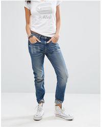 G-Star RAW – Arc 3D – Boyfriend-Jeans mit tiefer Taille - Blau