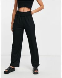 Vero Moda Wide Leg Trouser With Elasticated Waist - Black