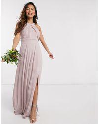 TFNC London - Эксклюзивное Розовое Плиссированное Платье Макси Для Подружки Невесты -розовый - Lyst