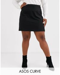 ASOS Asos Design Curve Tailored A-line Mini Skirt - Black