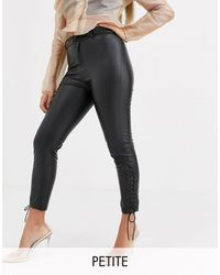 PrettyLittleThing Leather Look Skinny Trousers With Lace Up Detail - Black
