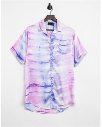 ASOS Атласная Пляжная Рубашка С Мраморным Принтом Тай-дай - Пурпурный