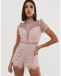 Love Triangle High Neck Cutwork Lace Playsuit In Pink