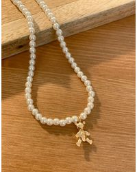 ASOS Necklace With Pearl And Teddy Bear Charm - Metallic