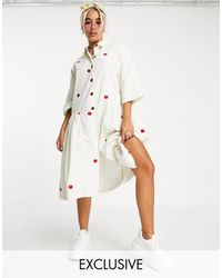 Native Youth Oversized Midi Smock Dress With Apple Embroidery - White