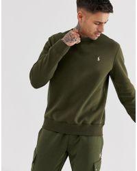Polo Ralph Lauren Double Tech - Sweat-shirt ras de cou à logo joueur de polo - Vert olive