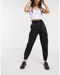 Bershka Pantalon cargo avec ceinture - Noir