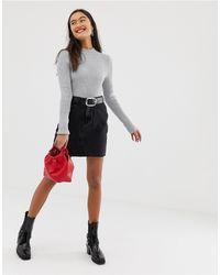New Look Mom Denim Skirt - Black