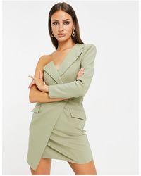 Lavish Alice One Shoulder Asymmetric Blazer Dress - Green